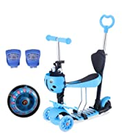 Yorbay 3-in-1 Kinder Scooter Roller, Patinete Scooter 3 en 1 Walker Trole Scooter 3 Ruedas de LED, Azul
