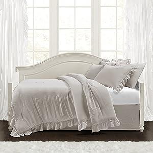 Lush Decor Reyna 6 Piece Daybed Comforter Set, Light Gray