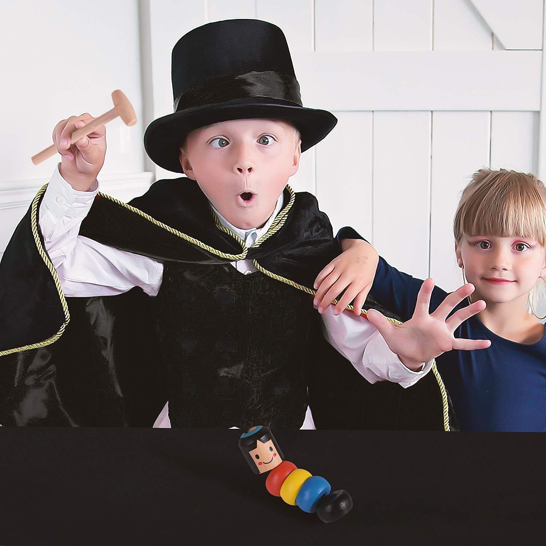 Wooden Man Puppet Immortal Puppet Daruma Stage Magic Props for Kids Children Girls Boys Birthday Halloween Colmanda Wooden Man Magic Toy