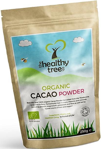 TheHealthyTree Company Cacao Crudo Orgánico en Polvo - Proteínas, Magnesio, Fibra y Potasio -