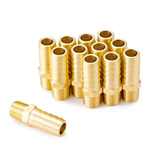 """Minimprover 12 PCS Solid Brass Pipe Fitting and Air Hose End Fitings,1/4"""" NPT Male to 1/2"""" Barb,Hose Barb Thread Pipe Adapter"""