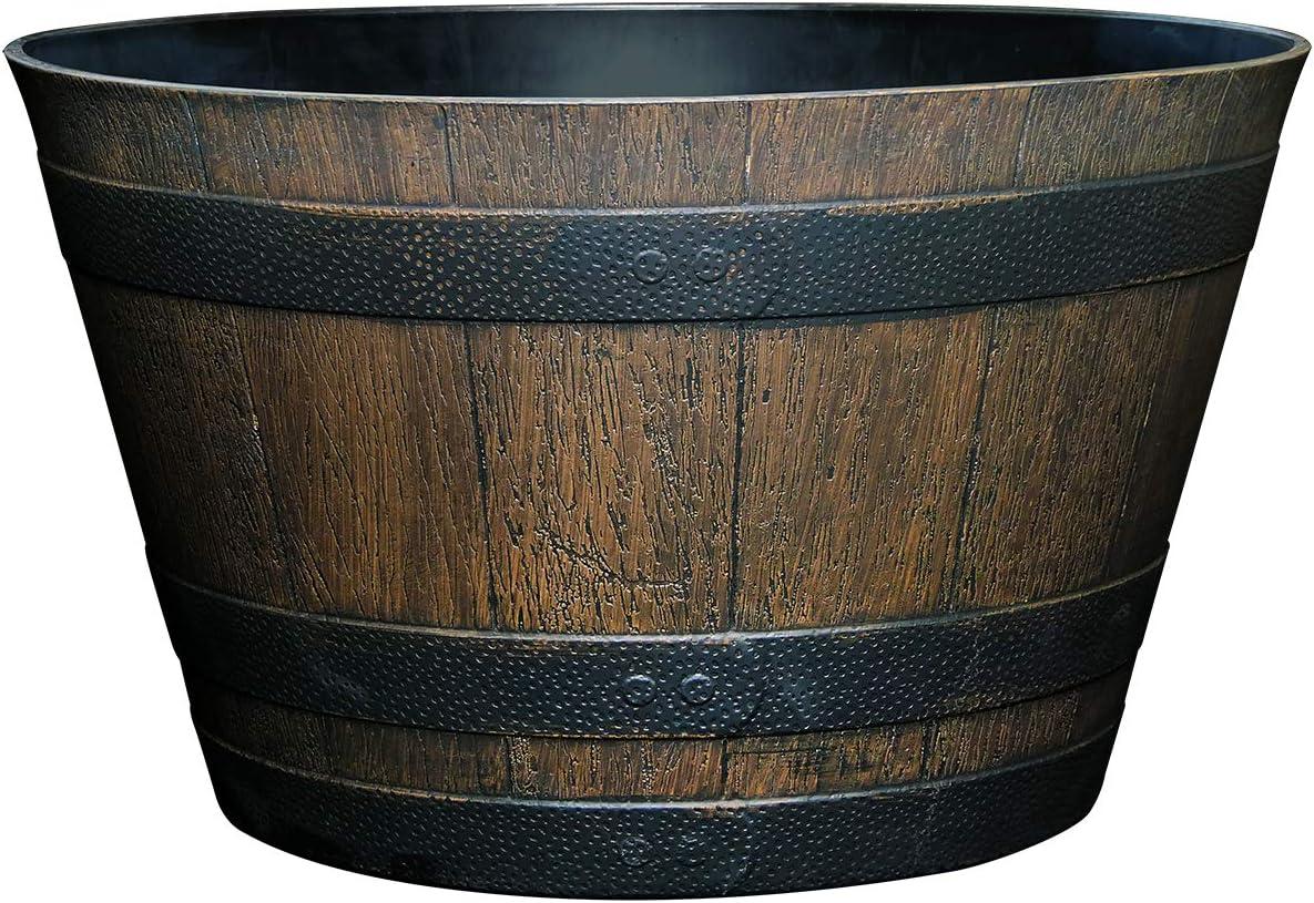 "Classic Home and Garden S1027D-037Rnew Whiskey Barrel Planter, 20.5"", Kentucky Walnut : Garden & Outdoor"