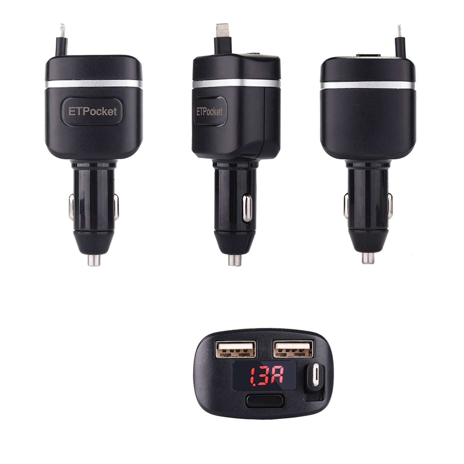 Black Retractable Car Chargers Tangle-Free Cable 2in1 Vehicle USB Car Charger for Apple iPhone X iPhone 8 Plus 7 Plus 6 Plus iPhone 5 iPod Touch 6 5 Samsung Galaxy Note 8 S8 Plus Micro-USB Devices