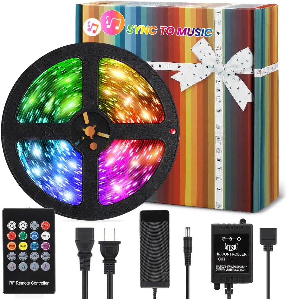 LED Strip Lights, 50ft RGB LED Lights with RF Remote, 5050 Color Changing Lights Music Sync Flexible Tape Lights for Home, Bedroom, Kitchen, Bar, Cupboard Christmas Decoration