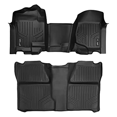 MAXLINER Floor Mats 2 Row Liner Set Black for 2007-2013 Silverado/Sierra 1500-2007-2014 Silverado/Sierra 2500/3500 HD Crew Cab: Automotive