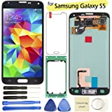 Samsung Galaxy S5 LCD Display Screen Replacement + Touch Digitizer Assembly for I9600 G900 G900A G900F G900P G900T G900V G900R4, with Repair tools + screen protector (Black)