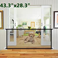 "Abnaok Magic Gate for Dog, 43.3""x28.3 Portable Mesh Folding Safety Fence, Large Safe Guard for Baby and Pets(Black)"