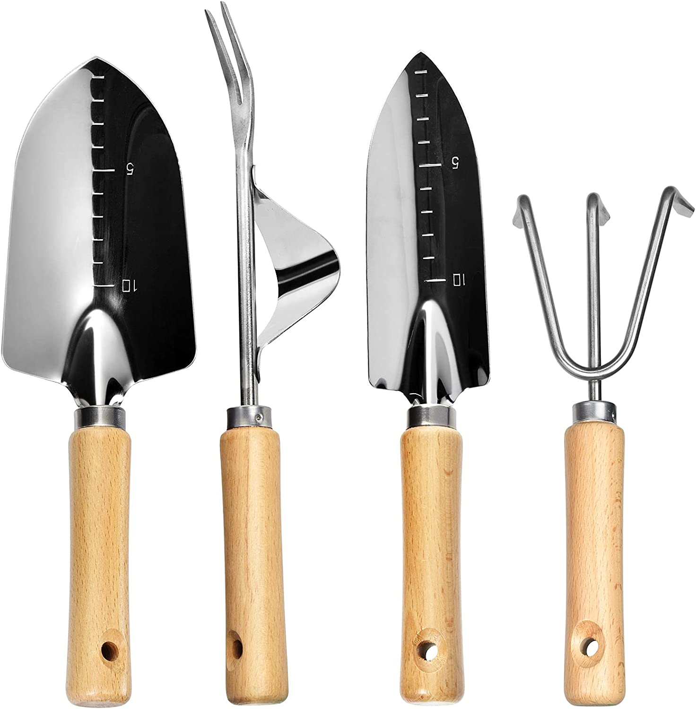 Omore Garden Tool Set, 3 Pcs Stainless Steel Heavy Duty Wood Handle Gardening Tools Kit Include Hand Rake Fork Trowel