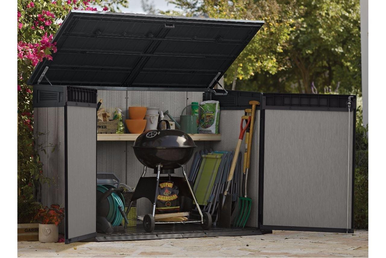 Armario de almacenamiento Keter Grande Store para 3 cubos de basura, bicicleta, cortadora de césped, barbacoa: Amazon.es: Jardín