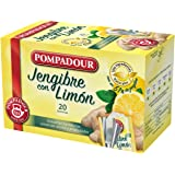 Pompadour Té Infusion Jengibre con Limón 20 bolsitas - Pack de 2 (Total 40 bolsitas)