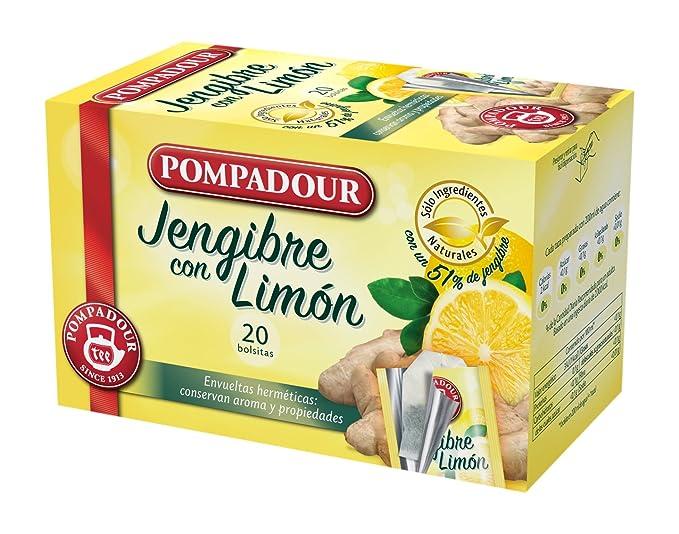Pompadour 40118 - Té Infusion Jengibre con Limón, 20 bolsitas: Amazon.es: Alimentación y bebidas