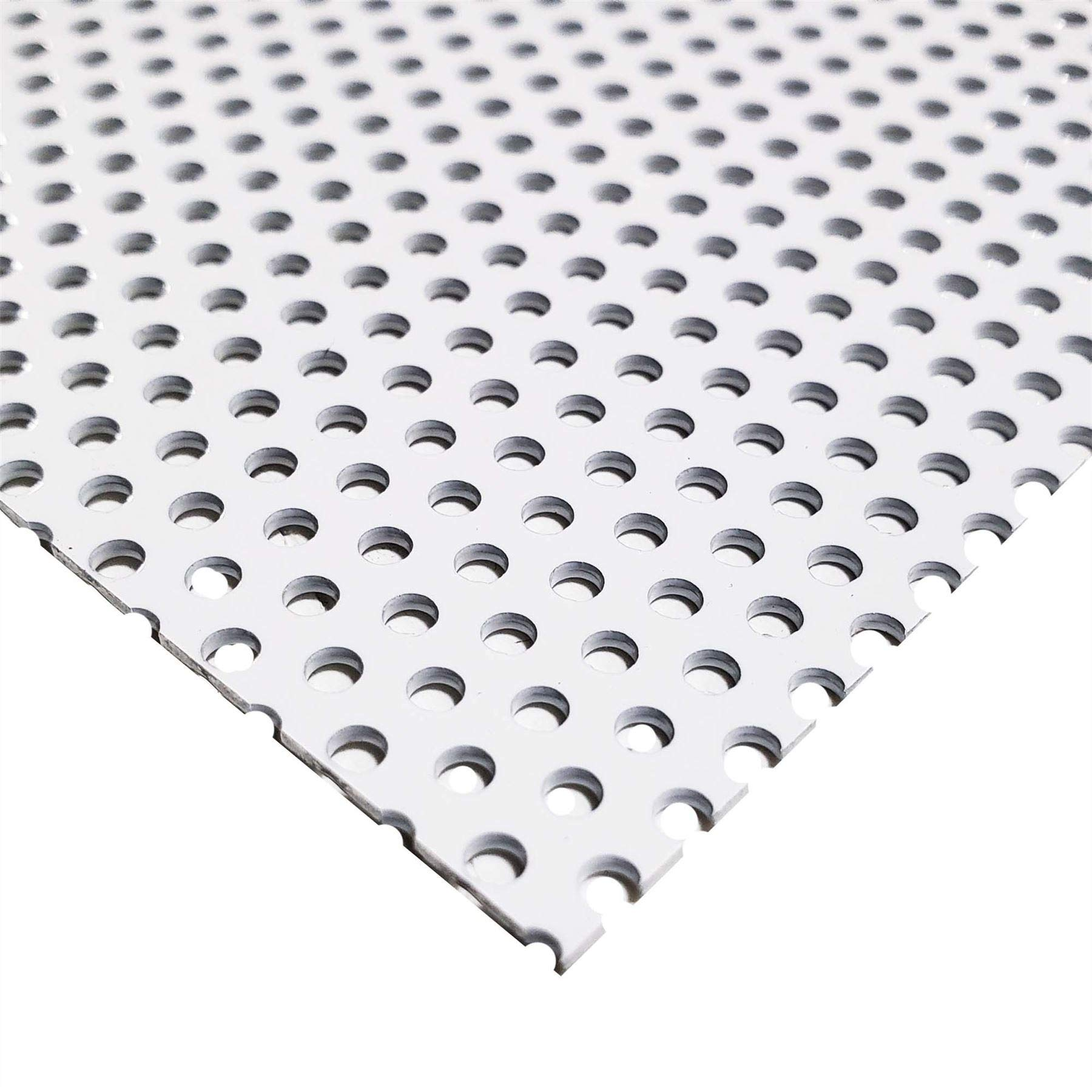 Online Metal Supply White Painted Aluminum Perforated Sheet, 0.040'' x 24'' x 24'' (0.100'' Hole, 0.188'' Center)