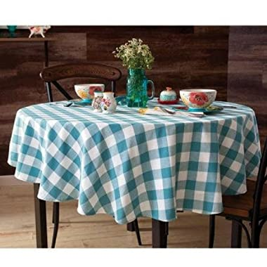 Pioneer Woman Tablecloth Teal Plaid Charming Check Round 70