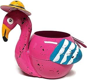 Metal Flamingo Planter Flower Pot (Pink)