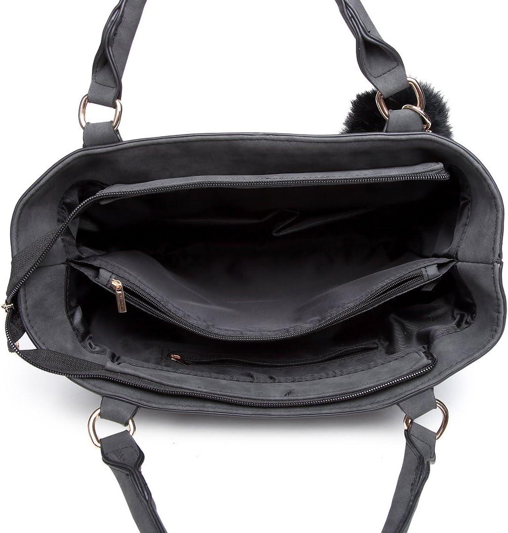Miss Lulu Handtasche Damen Aktentasche Elegant PU-Leder Shopper Henkeltasche Crossbody-Tasche