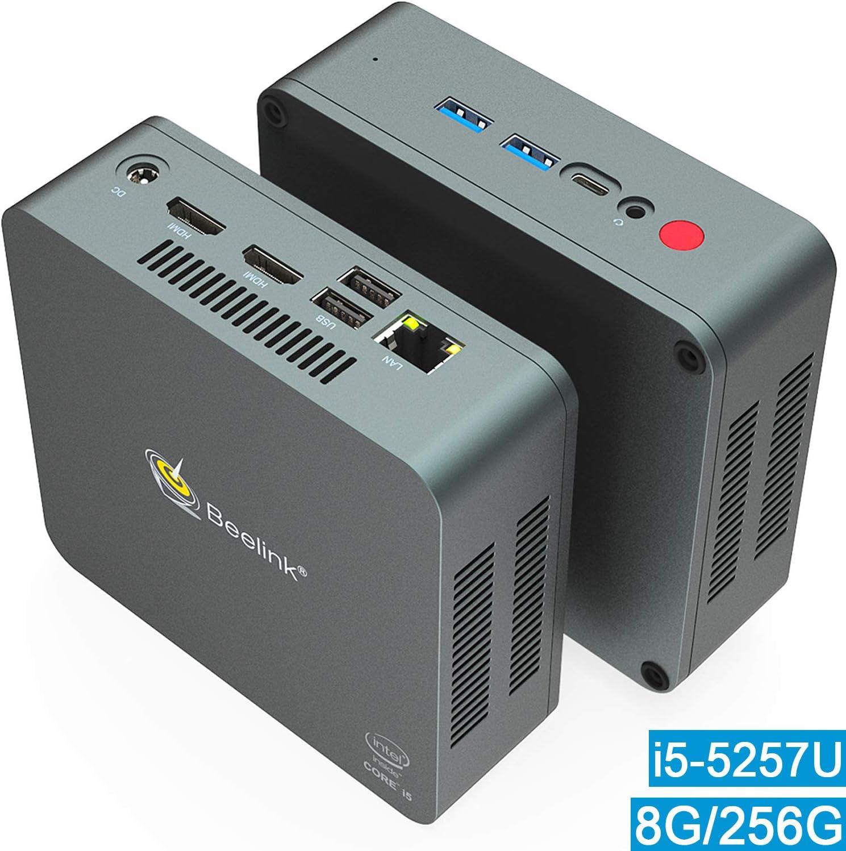 Mini PC, Beelink U57 Intel Core i5-5257U Processor (up to 3.10GHz) Windows 10 Pro Mini Desktop Computer, 8GB DDR3L/256GB M.2 SSD, Supports Extended HDD & SSD 2.5″/4K HD/Dual HDMI/Dual WiFi /BT4.0