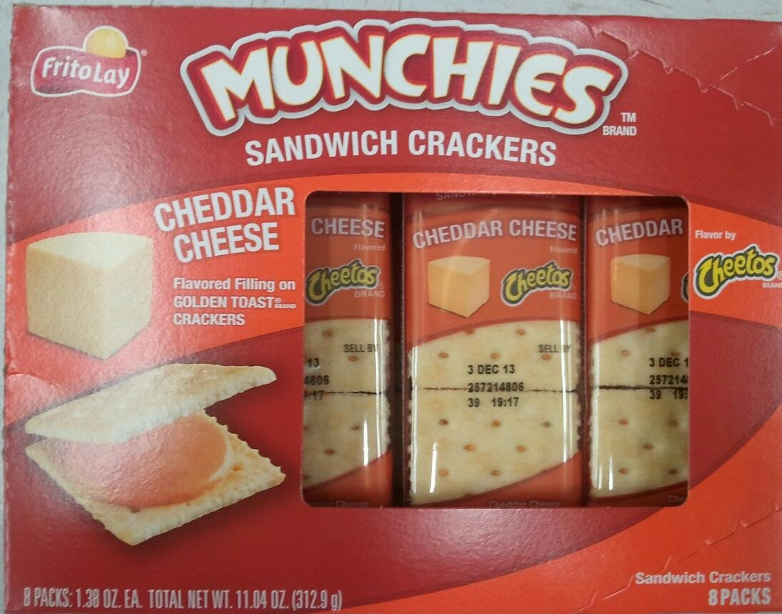 Frito Lay, Munchies, Cheddar Cheese Crackers, 11.4oz Box (Pack of 4)