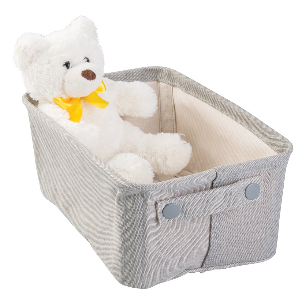 mDesign Soft Cotton Fabric Closet Storage Organizer Bin Basket with Coated Interior and Attached Handles for Child/Baby Room, Nursery, Playroom - Wide, Rectangular with Textured Print, Gray