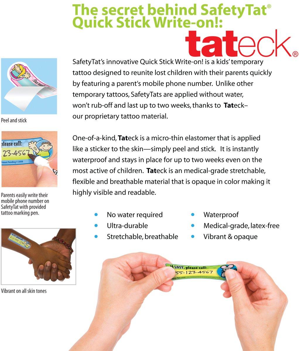 Quick Stick Write-on! Child ID Tattoos (Variety 6pk.) by SafetyTat LLC