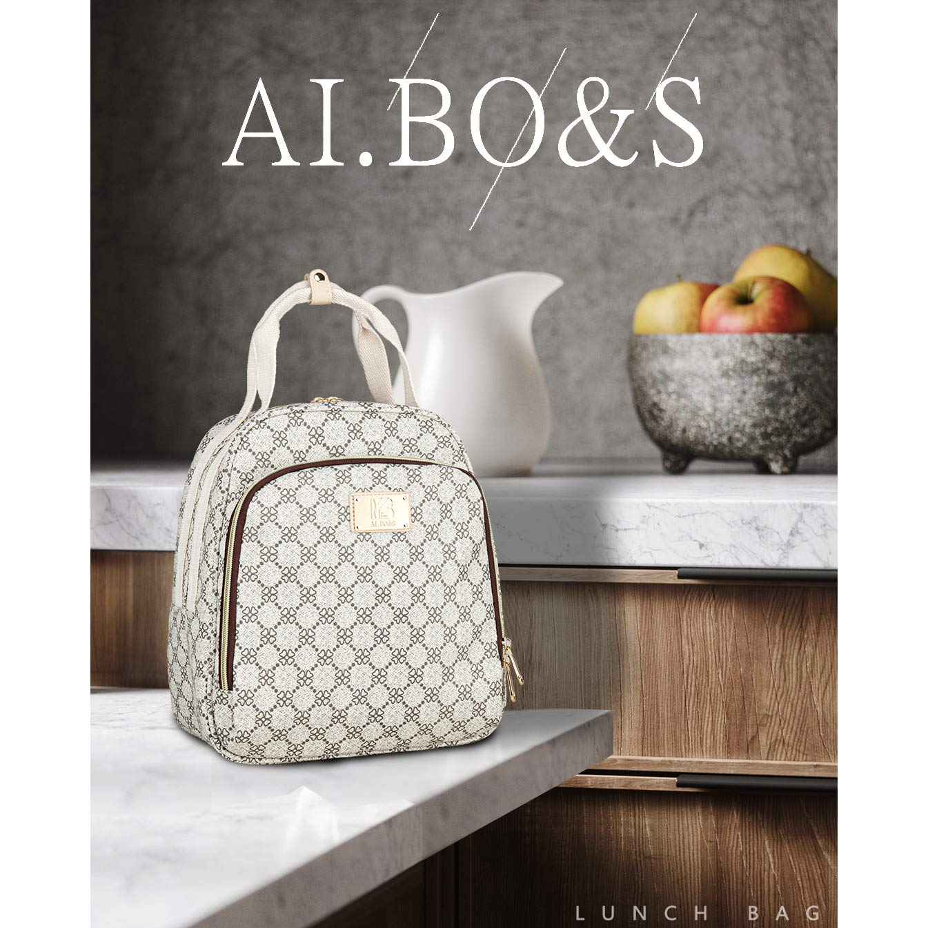 AI.BO/&S Lunch Bag Women Lunch bag Lunch Tote Bag Insulated Lunch Bag Large Capacity Lunch Bag Simple Lunch Bag for Work,School,Picnic