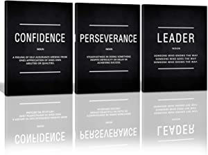 KAWAHONE Canvas Painting Wall Art Large, Motivational Leader Confidence Perseverance Success Quotes Wall Decor Inspirational Posters Prints Framed for Office Easy Hang 24''x36''x 3PCS
