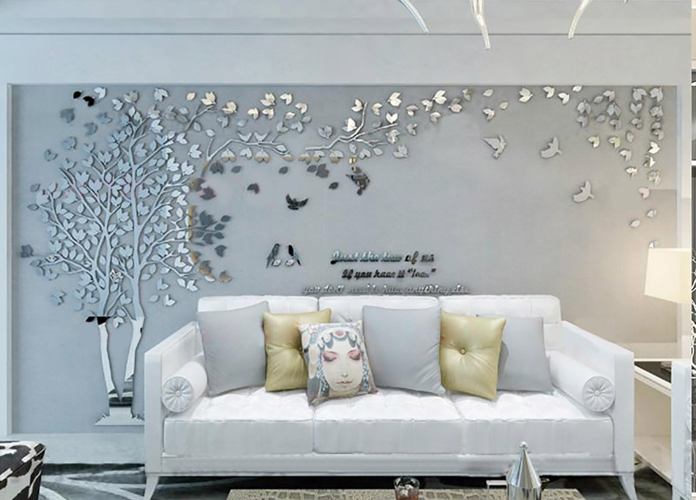 N.SunForest 3D Crystal Acrylic Couple Tree Wall Stickers Silver Self-Adhesive DIY Wall Murals Home Decor Art - X-Large by N.SunForest (Image #7)