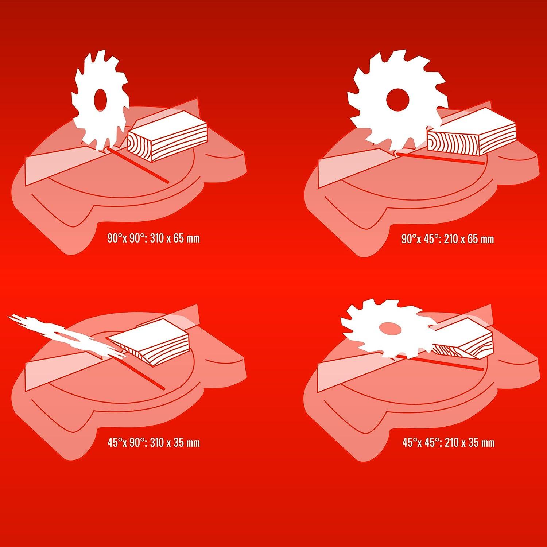 Zug Kapp Gehrungss/äge TE-SM 2131 Dual Einhell Untergestell 1600 W, S/ägeblatt /Ø 210 mm, Schnittbreite 310 mm, Softstart, schwenkbarer S/ägekopf, Laser, LED-Licht
