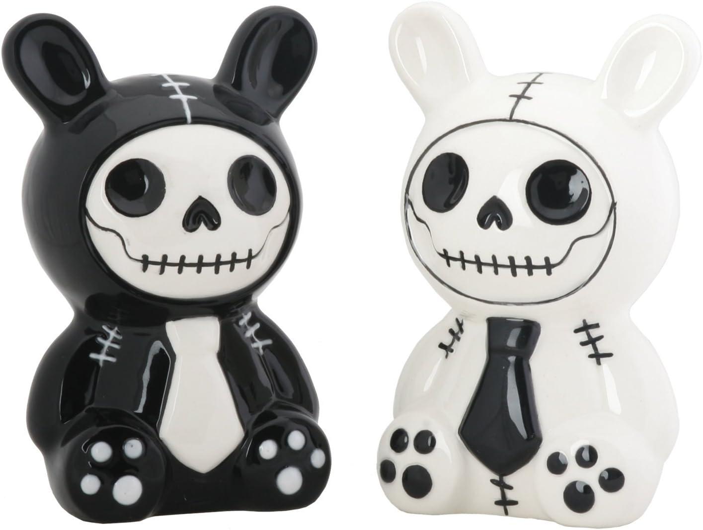 SUMMIT COLLECTION Furrybones Black and White Bunny Bun Bun Ceramic Salt N Pepper Shaker