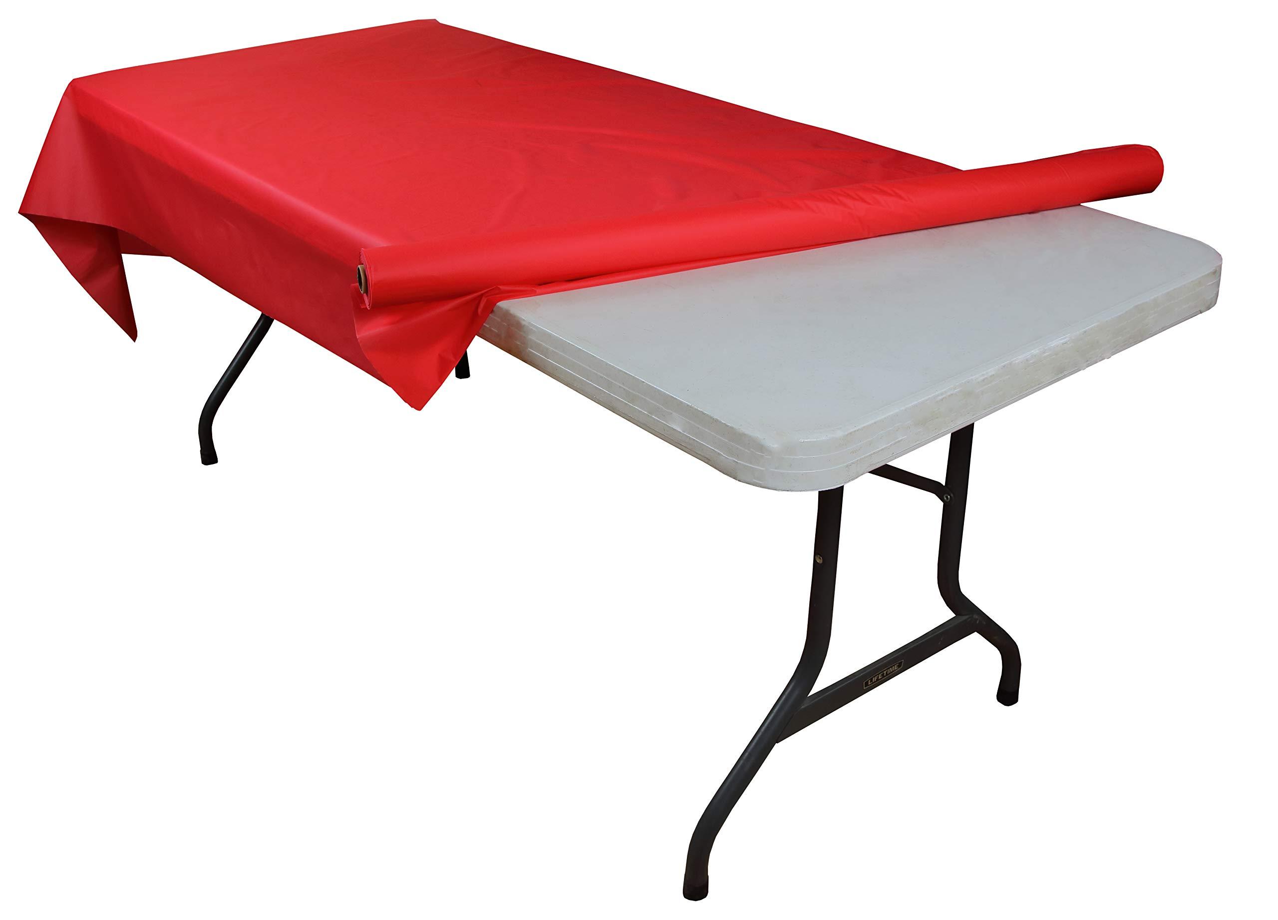 Exquisite Premium Quality Plastic Table Cover Banquet Rolls 40'' X 300' (Red)