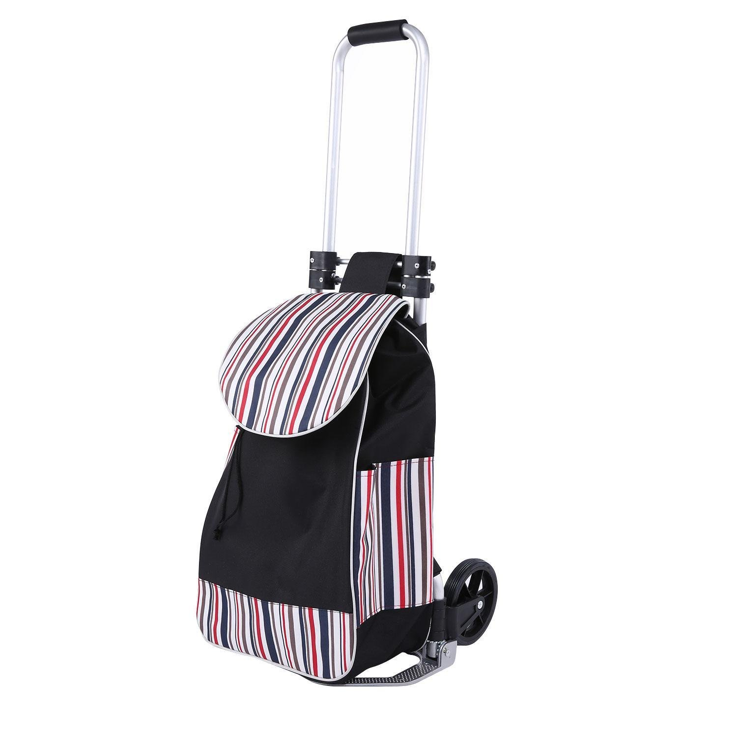 Creine Multipurpose Folding Shopping Cart Trolley Dolly, Waterproof Grocery Laundry Utility Cart Portable Luggage Carrier with Big Bag for Laundry, Grocery, Shopping and More (US STOCK)
