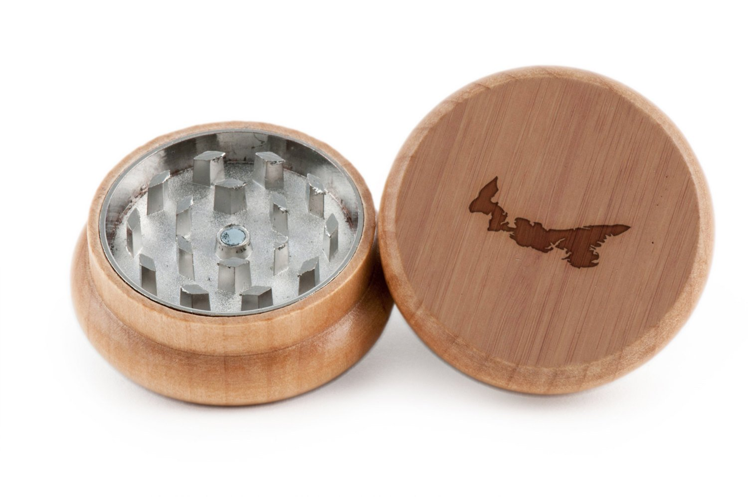 Prince Edward Island Herb and Spice Grinder - 2 Piece Wood Grinder with Laser Etched Designs - Made with Oak (2 Inches) GrindCandy