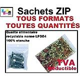 Lot 500 sachets à fermeture zip format 40x60 mm ( 4x6 cm ) pochettes qualité alimentaire, prélèvement, aux normes européennes de production plastique - 50 microns