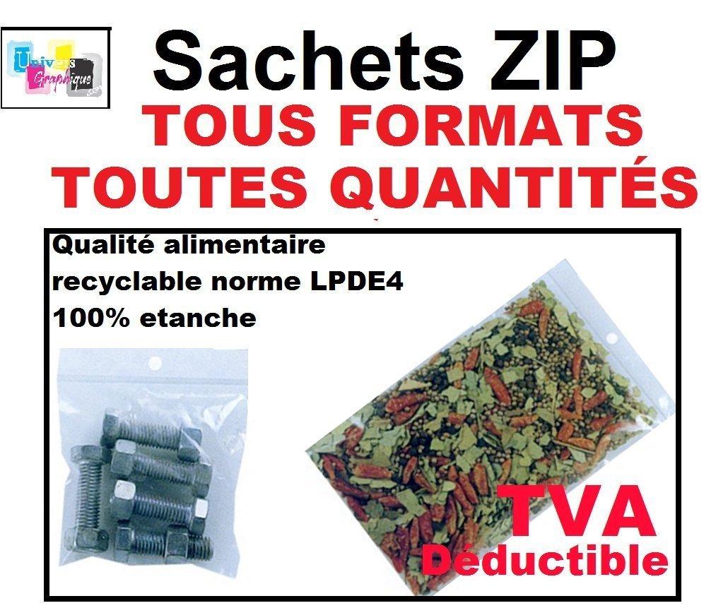 aux normes europ/éennes de production plastique Lot 100 sachets /à fermeture zip format 40 x 60 mm 4 x 6 cm pr/él/èvement 50 microns pochettes qualit/é alimentaire