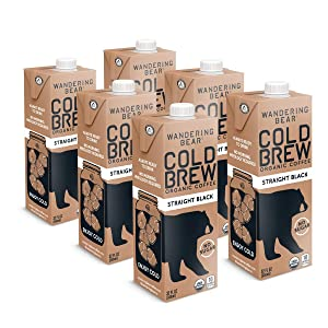 Wandering Bear Extra Strong Organic Cold Brew Coffee, Straight Black, 32 fl oz, 6 pack - Smooth, Organic, Unsweetened, Shelf-Stable, and Ready to Drink Cold Brew