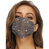 Barode Sparkly Rhinestone Mesh Mask Black Crystal Masquerade Mask Decorative Halloween Ball Party Nightclub Masks for Women a