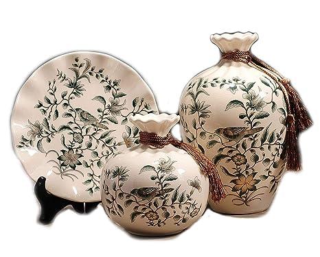 Amazon.com: Jarrones de cerámica esmaltada YJF juego de 3 ...