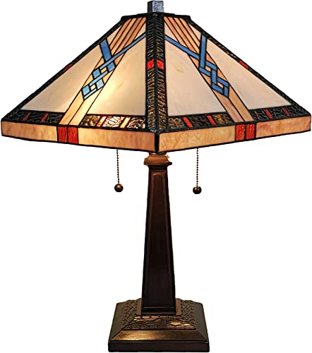 Tiffany Style Table Lamp Banker Mission 23 Tall Stained Glass Tan Blue Orange Brown Vintage Antique Light D cor Nightstand Living Room Bedroom Handmade Gift AM244TL14B Amora Lighting