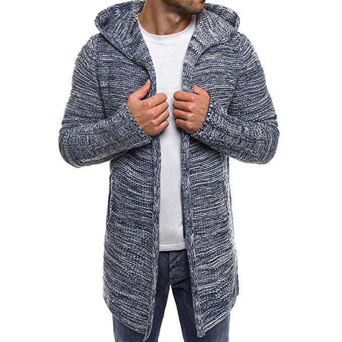 Mens Hooded Knit Trench Jacket Long Sleeve Cardigan Sweater