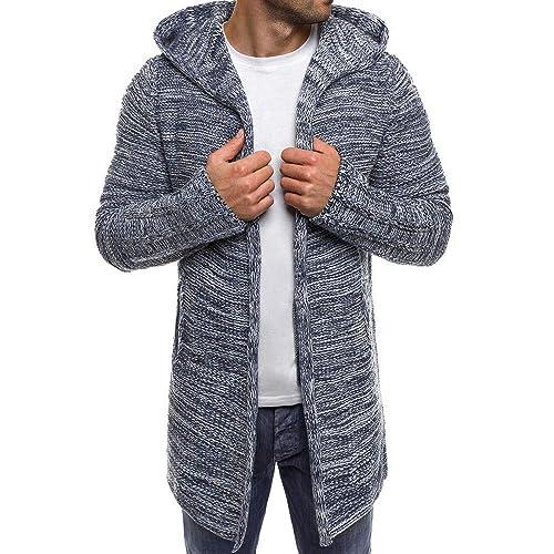 DAYLIN Hombres Abrigos con Capucha Color Sólido Trench Chaquetas Outwear Manga Larga Cárdigan de Punto: Amazon.es: Zapatos y complementos