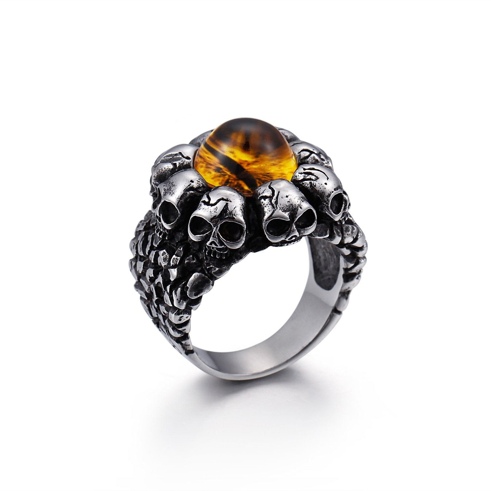 UNISS Vintage Yellow Devils Eye Rings for Men Stainless Steel Band Rings Silver Black Skulls Punk Rings Size 10