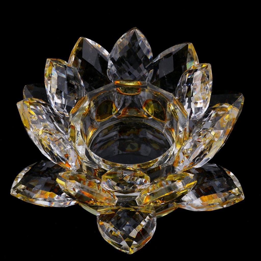 Baoblaze Kristall Glas Lotusbl/üte Kerze Teelicht Halter Buddhistisch Blau