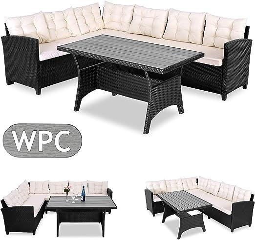Casaria Conjunto de muebles de jardín para 6 personas comedor esquinero con cojines + tablero de mesa WPC terraza patio: Amazon.es: Jardín