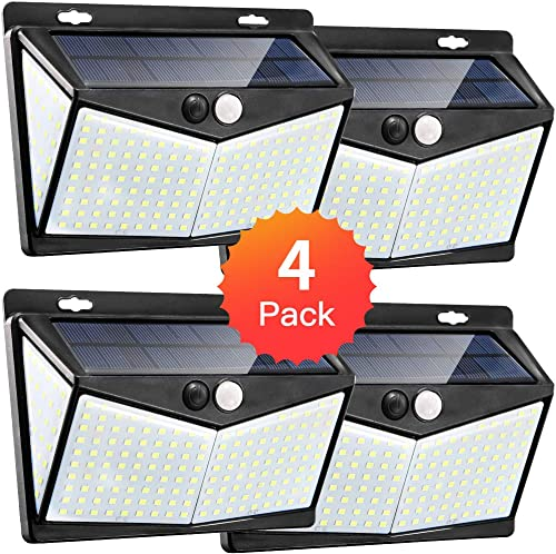 JIOR Solar Motion Sensor Lights Outdoor IP65 Waterproof Security Lights with 208 LED for Front Door Yard Black-4 Pack