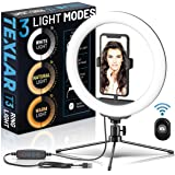 """Texlar T3 Ring Light 10"""" - Portable Selfie Circle Lights with Tripod Stand, Phone Holder, Remote. Dimmable Desktop LED RingLi"""