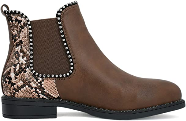 AOMO LOVE Womens Studded Chelsea Boots Snakeskin Print Ankle Booties
