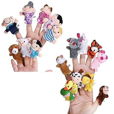 Pixnor Cuento de jugar aprender de 18pcs dedo títere establecido peluche infantil: Juguetes y juegos