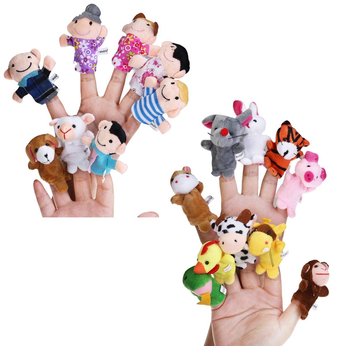 Pixnor Finger Puppets 18pcs samt kleinen tierischen Finger Toys Set Lernspielzeug-Weihnachts-Geschenk für Kinder
