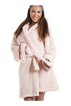 Camille Womens Luxurious Lightweight Soft Fluffy Fleece Pink Hooded ...