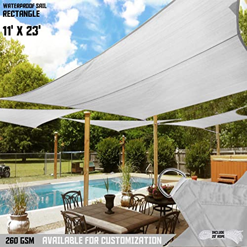 TANG Sun Shades Depot 11 x 23 Rectanlge Waterproof Knitted Shade Sail Curved Edge Light Gray Light Grey 260 GSM UV Block Shade Fabric Pergola Carport Canopy Replacement Awning Customize Available