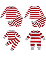 Puseky Dad Mom Baby Kids Family Matching Christmas Striped Pajamas Set Sleepwear